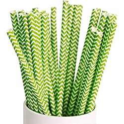 Webake 100 Pack Paper Drinking Straws 7.75 Inch Disposable Biodegradable Replacement (Chevron, Green)