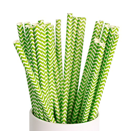 Webake 100 Pack Drinking Paper Straws Striped 7.75 Inch Disposable Replacement Biodegradable (Green)
