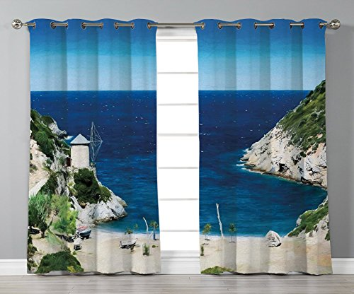 (Thermal Insulated Blackout Grommet Window Curtains,Beach,Rocky Sandy Cove North of The Old Town Alonissos Calm Seascape Idyllic Scenery,Blue White Green,2 Panel Set Window Drapes,for Living Room Bedro)