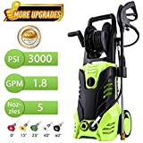 3000 PSI Electric Pressure Washer, High Pressure Washer, Professional Washer Cleaner Machine with 5 Interchangeable Nozzles, 1800W Rolling Wheels,1.80 GPM