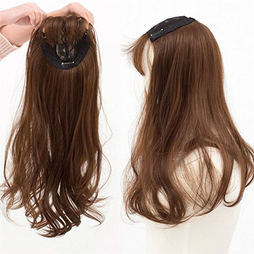 Yudit 22in Long Wavy Clips in Top Hairpieces with Mini Air Bangs Synthetic Hair Toppers for Women (Light brown)