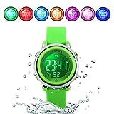 WUTONYU(TM) Children Digital Watch Kids Boy Girls LED Alarm Stopwatch Waterproof Wristwatches(Green)
