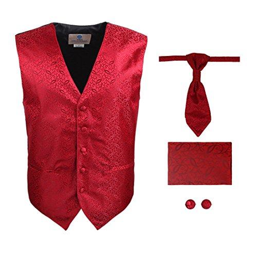 Y&G VS2029-L Red Patterned Handmade Vests Cufflinks Hanky Ascot Ties