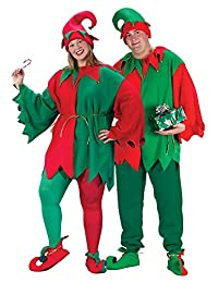 Fun World Costumes Men's Plus-Size Plus Size Elf Costume, Red/Green, X-Large