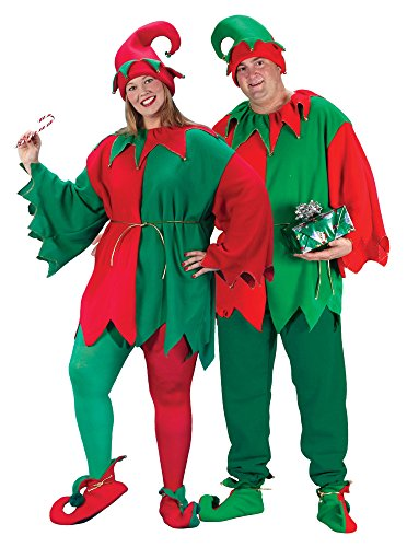 Fun World Costumes Plus-Size Plus Size Elf Costume, Red/Green, X-Large (Adult Plus Size Costume)