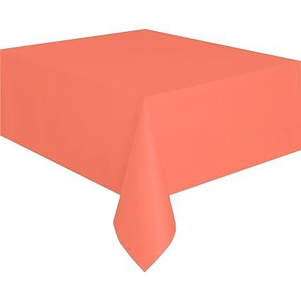 Coral Plastic Tablecloth, 108u0026quot; ...