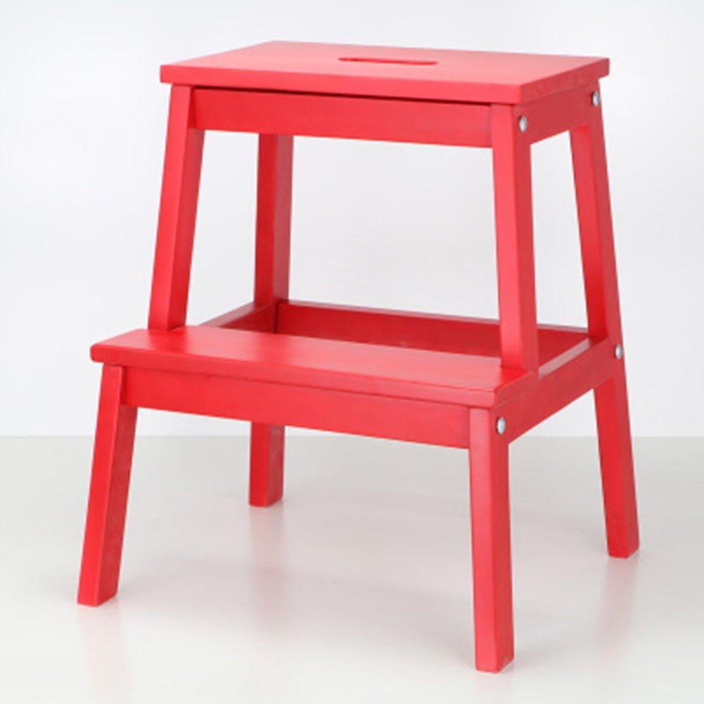PENGFEI 折りたたみステップ ラダースツールステップ 無垢材 多機能 ポータブルホール付き シューズの交換 キッチン 2ステップ 8色 40x50CM 脚立 踏み台ステップ チェア (色 : 赤) B079BWKV48 赤 赤