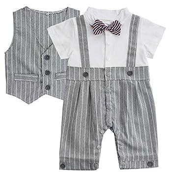 YiZYiF Baby Boys Romper Bodysuit Infant Bowtie 2 Pieces Set Outfits 9-12 Months