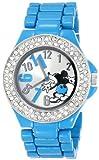 Disney Women's MK2077 Mickey Mouse Silver Dial Blue Enamel Bracelet Watch