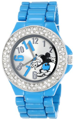 Disney Women's MK2077 Mickey Mouse Silver Dial Blue Enamel Bracelet Watch - Enamel Dial Watch