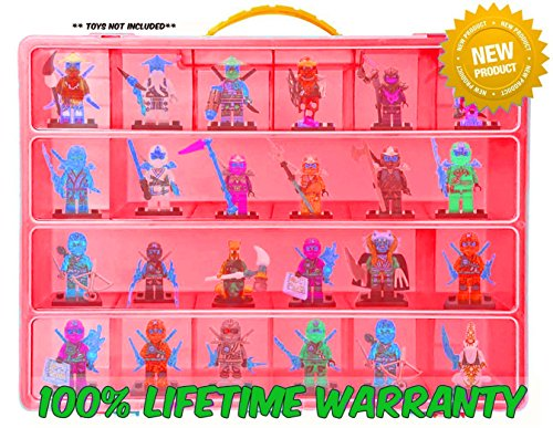 Lego Ninjago Carrying Case - Stores Dozens Of Figures - Durable Toy Storage Organizers By Life Made Better - Red