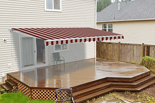 (ALEKO AW10X8MSTRRE19 Retractable Patio Awning 10 x 8 Feet Multi-Stripe Red)