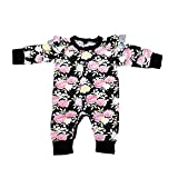 GSHOOTS Baby Girls' Floral Printed Cotton Romper With Tulle (80/6-12 Months, Black)