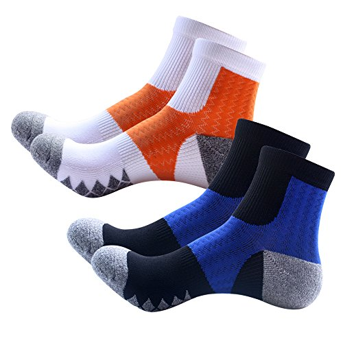 TangTown Mens COOLMAX Athletic Ankle Socks Sports Outdoor Performance Running Cushioned Crew Socks