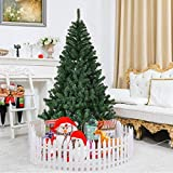 Goplus 6ft Christmas Tree Artificial Unlit Premium Spruce Hinged Tree with Metal Stand for Indoor & Outdoor, Green