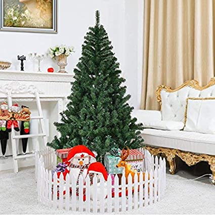goplus 6ft christmas tree artificial unlit premium spruce hinged tree with metal stand for indoor