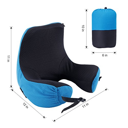 LANGRIA 6-in-1 Memory Foam Neck Support Travel Pillow with Detachable Hood Adjustable Neck Size for All Ages Side Elastic Pocket Neck Travel Cushion for Plane Train Car Bus Office (Blue) by LANGRIA (Image #4)
