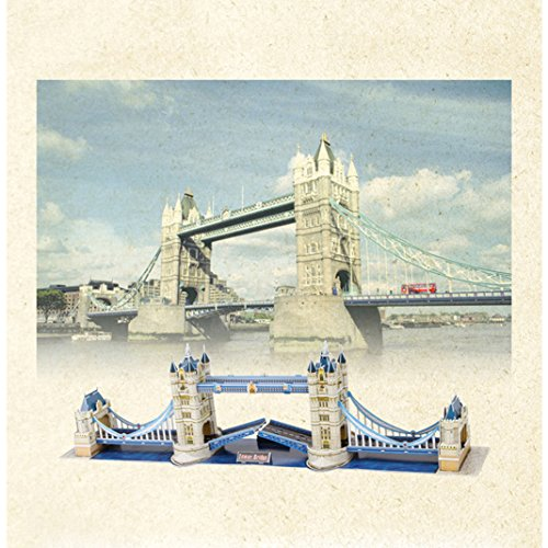 """Ancerson® 3D Puzzle Jigsaw Kit the Tower Bridge 41PCS Piece 31.49""""x5.5""""x8.66"""" Expandable Polystyrene Paper with 2 Change Mode LED Light Lamp Basis Holder for Children Kid Toy Gift"""