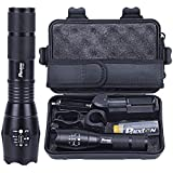 Tactical LED Flashlight 1200lm L2 Phixton Military Police Handheld Zoomable 5-Mode Aluminium Metal Water-resistant For Hiking Camping 18650 Rechargeable Battery Charger Pouch Gift Box Mount Included