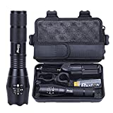 LED Flashlight Powerful Rechargeable 18650 5000mAh Battery Charger Pouch Gift Box Mount Included