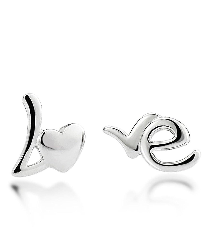Celebrity Jewellery corazón de las señoras de la letra Amor S925 plata esterlina Pendientes simple Bienes lindos Fior Mujeres