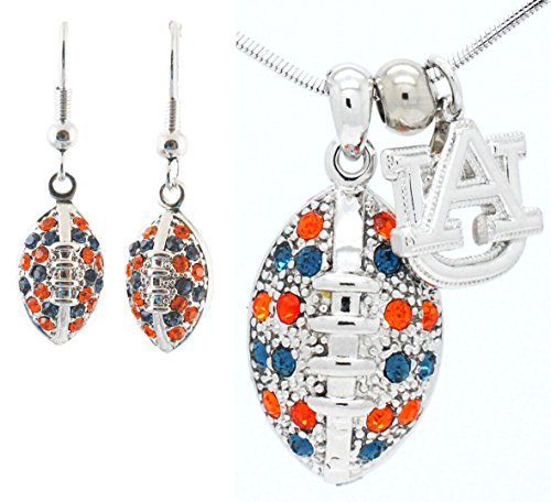 Auburn Tigers Crystal Necklace - Violet Victoria & Fan Star Jewelry Auburn University Football Necklace and Earring Set - Navy and Orange Crystal - Tigers