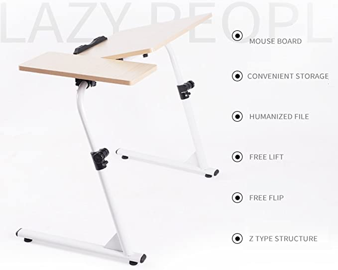 SogesHome Adjustable Lap Desk Table 31.5inch Portable Laptop Computer Stand Desk Cart Tray White S1-2MP-HCA