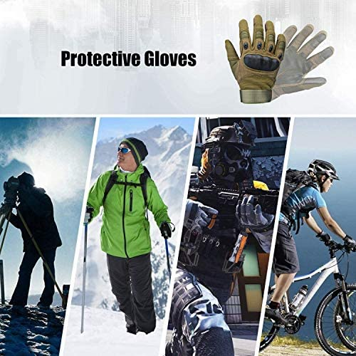 Xnuoyo Caoutchouc Hard Articulation Doigt Complet et Demi Doigt Gants Gants de Protection Écran Tactile Gants pour Moto Vélo Chasse Escalade Camping
