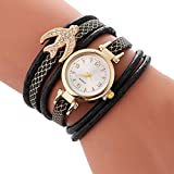 Anxinke Women Fashion Wrap Around Leather Band Rhinestone Analog Quartz Bracelet Wrist Watches