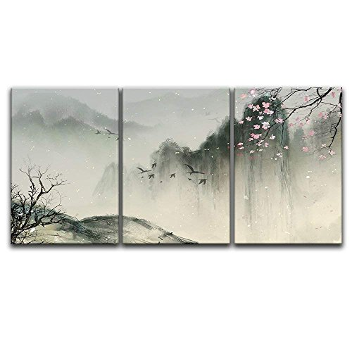 wall26-3 Panel Canvas Wall Art - Chinese Ink Painting Style Landscape with Mountains and Cherry Blossom in Spring - Giclee Print Gallery Wrap Modern Home Decor Ready to Hang - 24