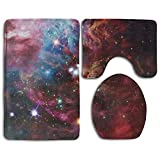 Hexu Space Space Nebula With Star Cluster In The Cosmos Universe Galaxy Solar Celestial Zone Bathroom Rug 3 Piece Bath Mat Set Contour Rug And Lid Cover