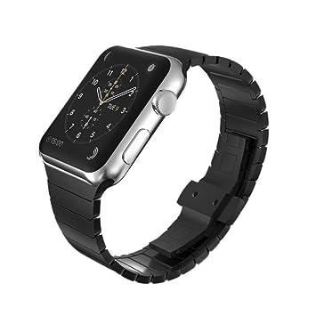 FOXROAR Correa galvanizada de Acero Inoxidable Compatible con Apple Watch 42mm 44mm, Pulsera de eslabones con Doble botón Correa de Cierre Plegable ...