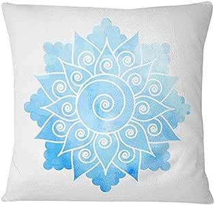 Home Design Flower Art Printed Cushion - Blue/White, 40 x 40 cm