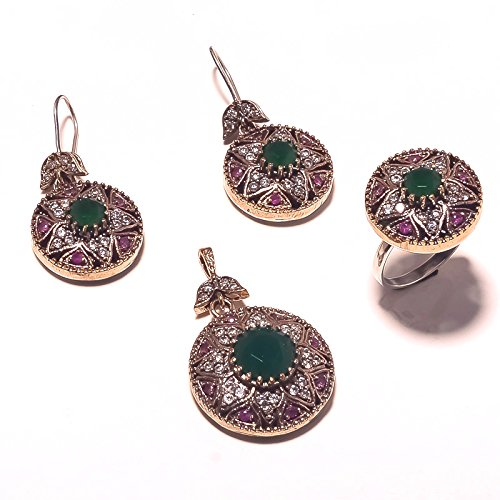 Be You Attractive Red-Green Glass Rhodium Plated Brass & Silver Turkish Earring, Ring & Pendant Set for Women