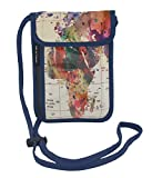 RFID Safe Hidden Travel Passport Neck Wallet by ART OF TRAVEL - A Partnership with Artists Around the World - Mark Ashkenazi - World Map