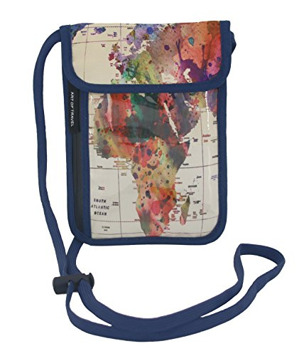 RFID Safe Hidden Travel Passport Neck Wallet by ART OF TRAVEL A Partnership with Artists Around the World Mark Ashkenazi World Map