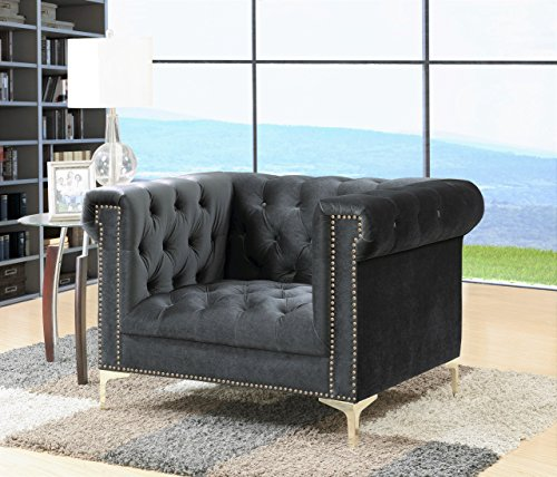 Iconic Home FCC2606-AN Gold/Grey Bea Velvet with Nail head Trim Tone Metal Club Chair