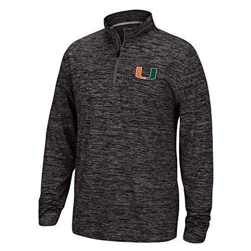 (Top of the World NCAA Men's Miami Hurricanes Team Color Space Dyed Poly Quarter Zip Pullover Black Medium)