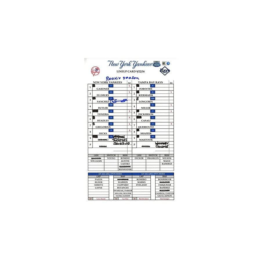 Gary Sanchez Signed Yankees at Rays 9 22 2016 Game Used Lineup Card w/ Rookie Season Insc (JB348762)