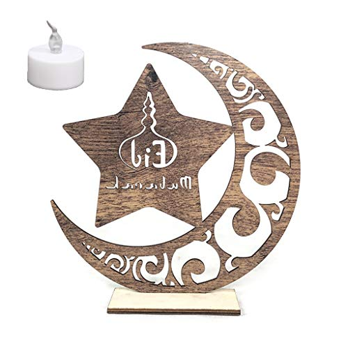 (Wooden Eid Mubarak Muslim Ramadan, Moon Star Plate Pendant with LED Light Ornament for Home Decor )