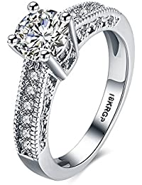 18k White Gold Plated 7mm Heart and Arrows Cut Cubic Zirconia Solitaire Engagement Ring