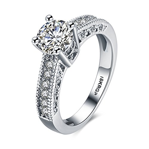Blean 18k White Gold Plated 7mm Heart and Arrows Cut Cubic Zirconia Solitaire Engagement Ring (Sizes 6 to 9)7