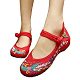 ALBBG Embroidered Chinese Style Embroidery Flats Women's Shoes Heels Red Black (B(M) US8.5/EU39/UK6.5/CN40 Medium, Red-1)