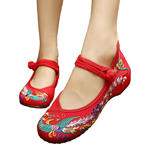 ALBBG Embroidered Chinese Style Embroidery Flats Women's Shoes Heels Red Black (B(M) US7.5/EU38/UK5.5/CN38 Medium, - Lady Shoes Fancy Flat