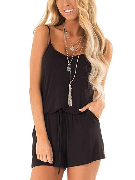 b0bd0dfd54be Amazon.com  EZBELLE Womens Casual Summer Spaghetti Strap V Neck Short  Rompers Jumpsuit with Drawstring  Clothing