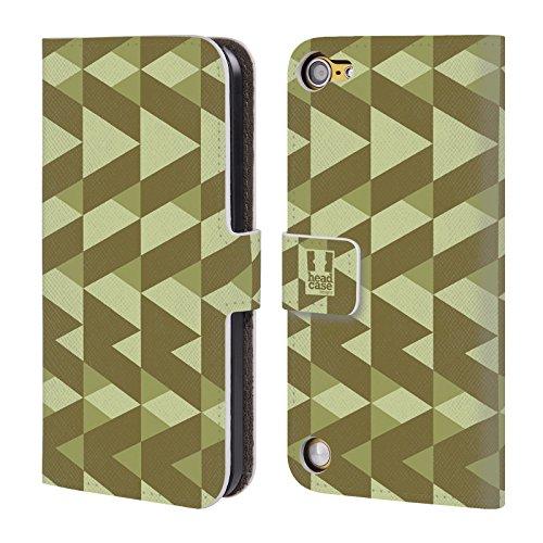 Head Case Designs Grigio Chiaro Mimetico Geometrico Cover a portafoglio in pelle per iPod Touch 5th Gen / 6th Gen