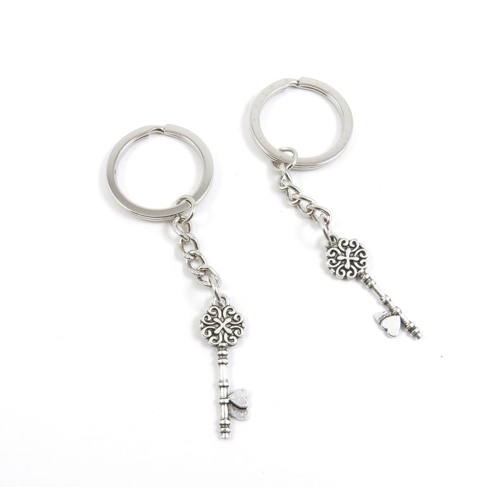 100 Pieces Keychain Door Car Key Chain Tags Keyring Ring Chain Keychain Supplies Antique Silver Tone Wholesale Bulk Lots E0KQ1 Key of Love