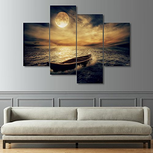 Boat Full Moon (4 Panels Modern Wall Art Painting on Canvas Full Moon A Boat on the Sea Landscape View Artwork for Living room Bedroom Wall Decor Stretched and Framed Ready to Hang for Home)