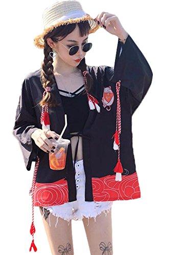 (ジュンィ) レディース カーディガン 羽織 和服式 パーカー 猫柄 Tシャツ ゆったり シンプル おしゃれ トップス 学生 アウター