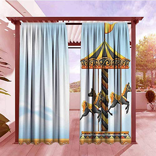 (Curtains Rod Pocket Two Panels Outdoor Carousel Ride Amusement Park Platform Carnival Circus Horse Roundabout Draft Blocking Draperies W84x72L Black Yellow Light Blue)